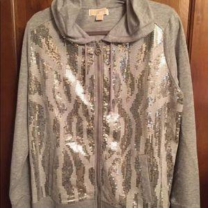 Michael Kors Silver Sequin Hoodie XL